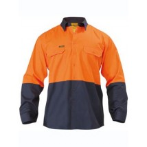 2 Tone Hi Vis Cool Lightweight Mesh Ventilated Drill Shirt - Long Sleeve