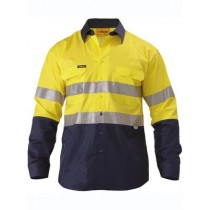 2 Tone Hi Vis Lightweight Cotton Drill Shirt with Reflective Tape